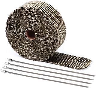 Bermud 5M Hitzeschutzband Basaltfaser Auspuffband Krümmerband Fächerkrümmer Thermoband Hitzeschutz bis 1000°C Auspuff mit Edelstahl Kabelbinder Metallstreifen
