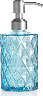 Easy-Tang Soap Dispenser for Kitchen, Bathroom - Refillable Wash Hand Liquid Clear Glass Bottle, Colored Jar with Stainless Steel Pump, Ideal for Dish Detergent, Essential Oil, Shampoo Lotion (Blue)