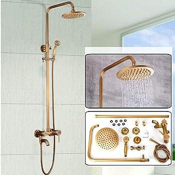 Juego de ducha de latón retro, estilo retro, sistema de ducha de ...