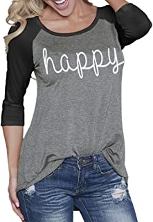 Blostirno Women's Fashion Letter Printed Contrast Color Tops T Shirts Blouse Raglan Tee-Plus