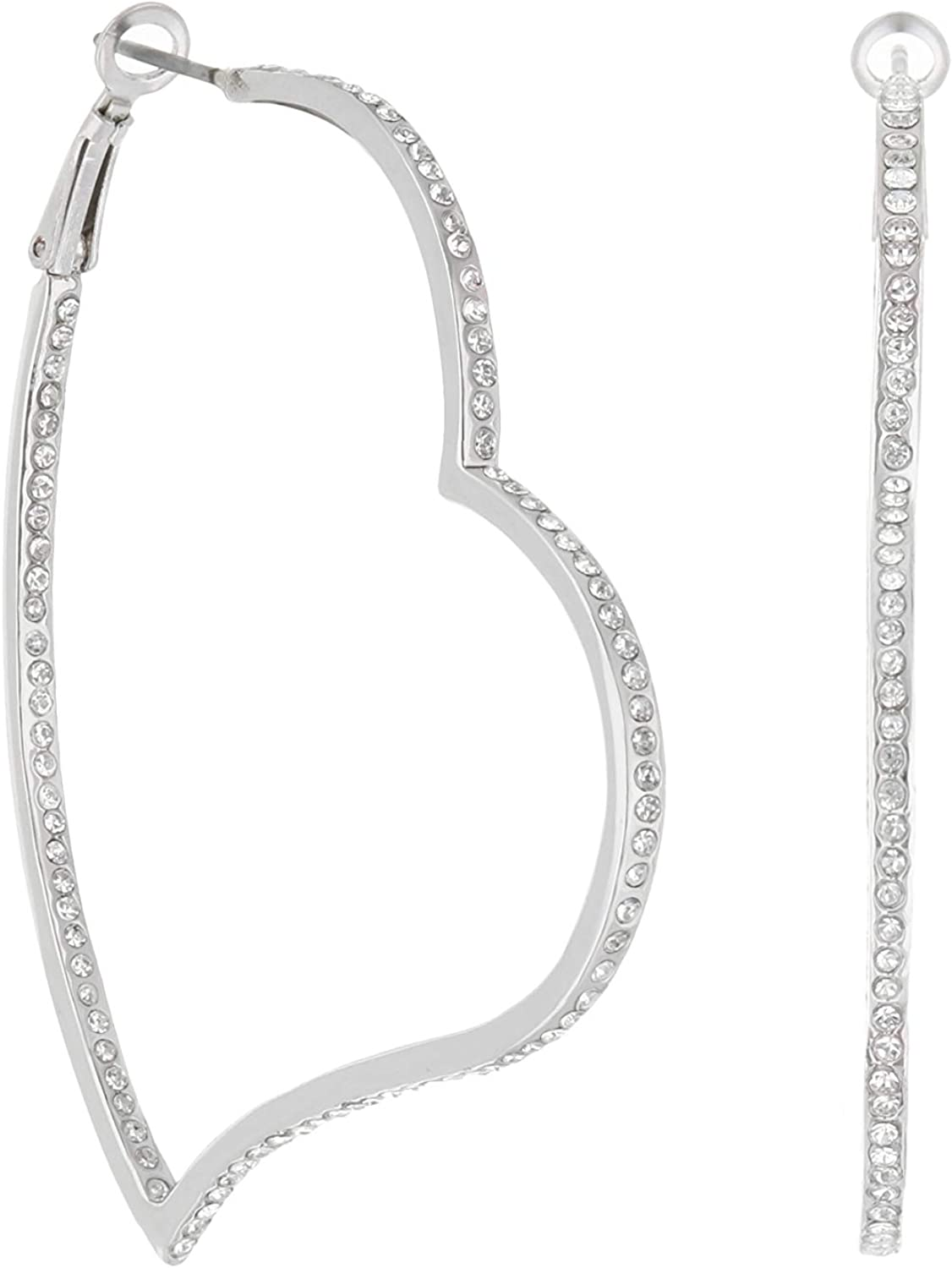 Pave Heart Hoop Earrings - French Clip