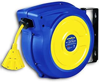 GOODYEAR Retractable Extension Cord Reel Polypropylene Extra Long 14AWGx65' Feet 3C SJTOW Commercial Premium Grade Ultra Flexible Cable Triple Tap Connector Slow Retraction Technology Indoor & Outdoor