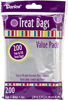 Darice Value Pack, 3 x 4.75 inches, 200 Pieces Treat Bags, 3 by 4.75-Inch, Clear/Transparent