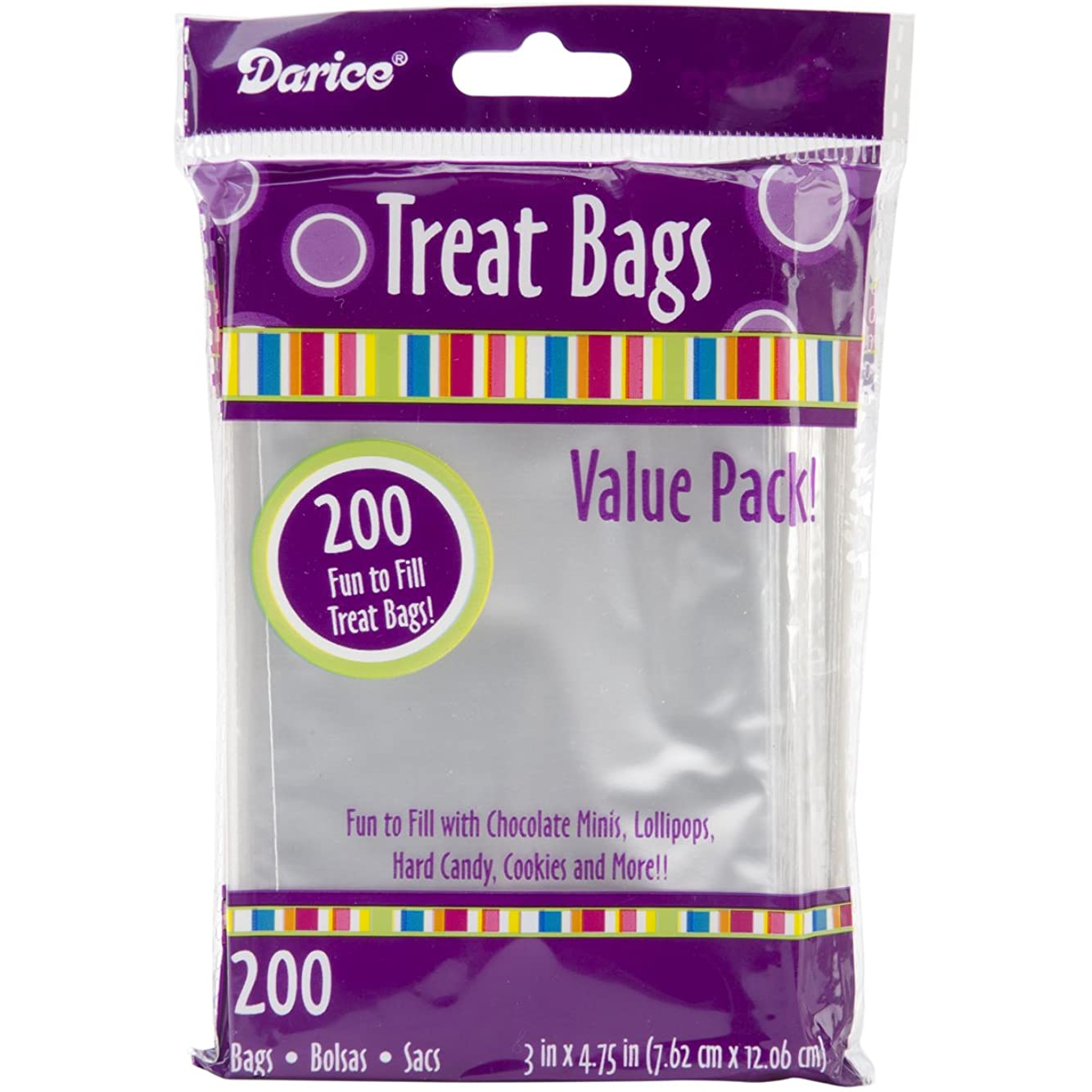 Darice Clear Value Pack, 3 x 4.75 inches, 200 Pieces Treat Bags, 3 by 4.75-Inch, Transparent