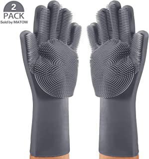 MATOW Magic Saksak Silicone Gloves Dishwashing Scrubber, Reusable Dish Wash Rubber Scrubbing Sponge Cleaning Gloves for Washing Kitchen, Bathroom, Car and Pet-(1 Pair: Left and Right, Gray)