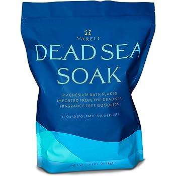 Yareli Dead Sea Bath & Foot Soak, Magnesium Bath Salt Flakes, Stronger Alternative to Epsom Salt 15lbs