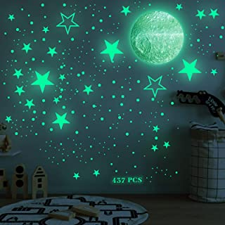 437Pcs Glow in The Dark Stars and Moon Wall Stickers, Adhesive Glowing Dots and Planet Wall Decal, Luminous Fluorescent St...