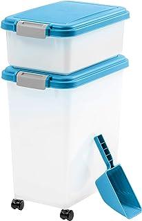 IRIS USA 3Piece Airtight Pet Food Container Combo, Blue MP-8/MP-1/SCP-2