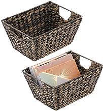 mDesign Natural Woven Hyacinth Nesting Closet Storage Organizer Basket Bin for Household Storage in Closet, Bedroom, Bathr...