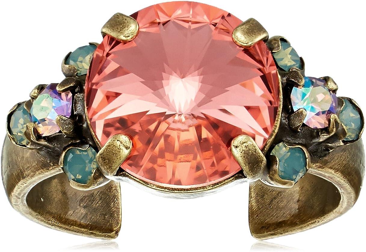 Sorrelli Womens Radiant Sunrise Crystal Adorned Ring, Pink, Adjustable
