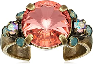 Sorrelli 女式明亮日出水晶装饰戒指,粉色,可调节