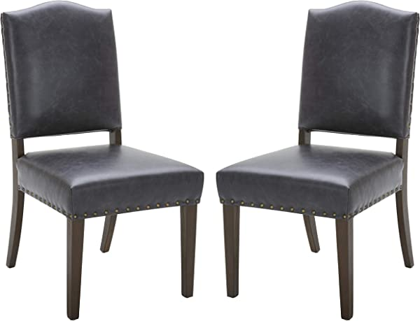Stone Beam Leather Parsons Dining Chair 39 H Black Set Of 2