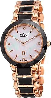 Burgi Women's Diamond Watch - Mother of Pearl Dial 4 Diamond Hour Markers with Date Window On Ceramic Bracelet - BUR147