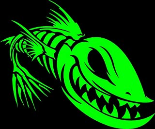 POPCultureSigns Fish Skeleton Sticker Fishing Zombie Bones Green Decal Evil Skull Window