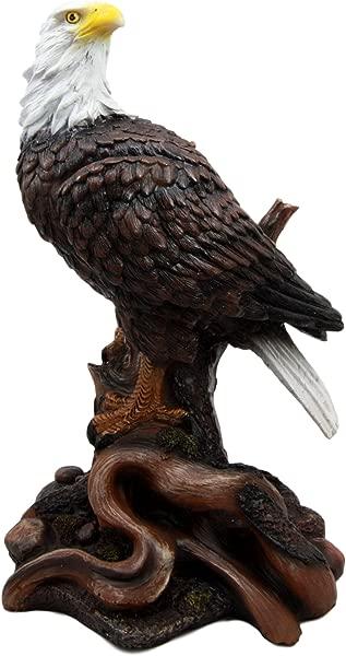 Ebros Wildlife Patriotic Bald Eagle On Tree Branch Statue Wings Of Glory Eagle Decorative Figurine 10 25 Tall