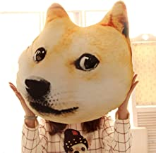 Mkono Decorative Throw Pillow 3D Akita Doge Dog Head Cartoon Plush Pillow Funny Christmas Birthday Gift Idear Lovely Animal Stuffed Toys