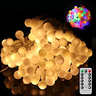 OMGAI Globe String Lights with Remote Control, 34Ft 60 LED 8 Modes Warm White and Multi-Color Battery Operated Ball String...