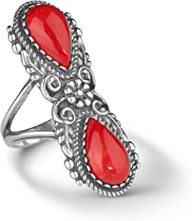 American West Sterling Silver Red Coral Gemstone Elongated Ring Size 05 to 10