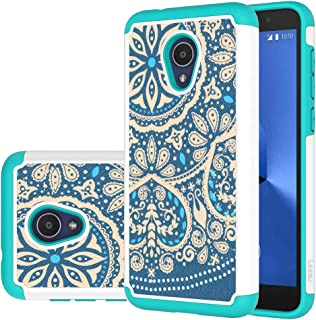Alcatel 1X Evolve Case, Alcatel TCL LX Case, LEEGU Shock Absorption Dual Layer Heavy Duty Protective Silicone Plastic Cover Rugged Phone Cases for Alcatel IdealXtra 2018 - Blue Flower