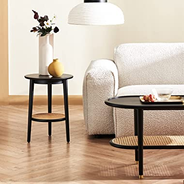 Harmati Round Side Table with Storage - Black End Table for Living Room, Bedroom and Small Spaces, Modern Accent Bedside Tabl