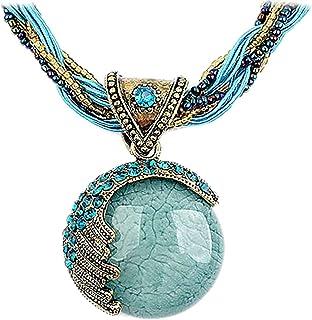 گردنبند زنجیر یقه زنجیر آویز فیروزه ای سبک سبک یکپارچهسازی با سیستمعامل زنان نوربو