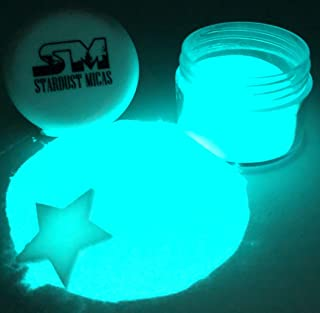 Glow in The Dark Pigment Powder Blue, Luminescent Glow Powder, UV Glow Powders for Soap Making, Resin, Make-up, Face Paint, Bright Blue Neon Glow, Glo Powders Stardust Micas