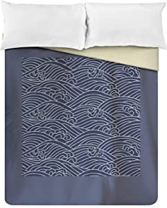 Traditional Japanese Wave Pattern A-9009582 (88x88 Queen Microfiber Duvet Cover)