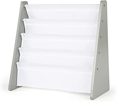 Humble Crew Kids Book Rack Storage Bookshelf, Grey/White
