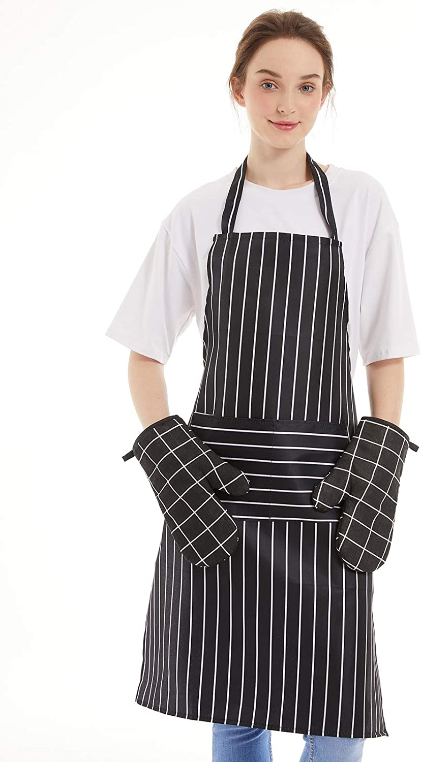 HOMSY Adjustable Bib Apron with Heat for Resistant Oven C Regular store El Paso Mall Gloves
