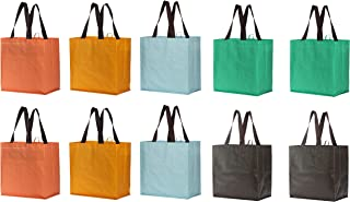 Earthwise Reusable Grocery Bags Large Eco Friendly Laminated Water Resistant Foldable Totes Durable Poly Web Handles (Set ...