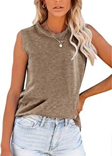 PRETTODAY Women's Casual Tank Tops Round Neck Sleeveless Shirts Loose Basic Blouses
