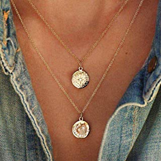Double Layered Coin Necklace Chain Vintage Gold Disc Necklaces Boho Jewelry for Women and Girls