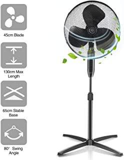 Aigostar Molly 33NFR - Ventilador de pie, oscilante 80°, altura regulable hasta 130 cm, 40W, 3 velocidades, cubierta de seguridad con rejilla. Silencioso. Compacto para el almacenamiento. Color negro.