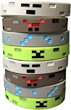 Pixel Miner Crafting Style Character Wristband Sets (8 Pack)- Pixel Theme Bracelet Designs - Spider, Creeper, Skeleton, Diamond - 2 of Each Style, Birthday Party Supplies or Party Favors