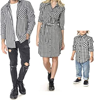 Family Matching Long Sleeve Plaid Shirt Dress Mommy and Me Father and Son Couples Matching Outfits Clothes