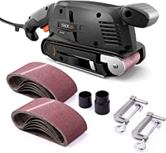 TACKLIFE Belt Sander 3×18-Inch with 13Pcs Sanding Belts, Bench Sander with Variable-speed Control, Fixed Screw Clamps, Dus...