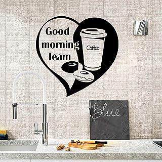 Good Morning Team Café Sticker Mural Bureau Café Bar Décoration Maison Ornement Vinyle Art Amovible Affiche Murale 57 * 59 cm