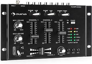 auna TMX-2211 MKII Mezclador para DJ, 3/2 Canales, 2x6.3mm Mic-In, 2 x RCA-Linein con Phono-Switch, RCA-AuxIn, Crossfader, Función Talkover, Salida para Auriculares, Montaje en Rack, Negro