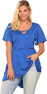 IN'VOLAND Women's Plus Size Perfect V-Neck Short Sleeve Casual Tee Shirts