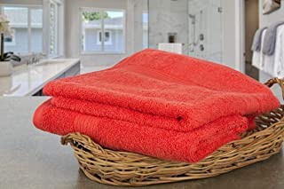 Ample Decor 100% Cotton Hand Towels Solid Pattern Super Soft Highly Absorbent Towel for Bathroom, Hand, Gym and Spa – Orange (18 X 28 Inch)