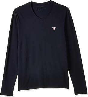 GUESS Men's LONGSLEEVES PLAIN V-NECK T-Shirt