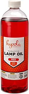 Liquid Paraffin Lamp Oil - Red Smokeless, Odorless, Ultra Clean Burning Fuel for Indoor and Outdoor Use - Highest Purity Available - 32oz - by Hyoola Candles