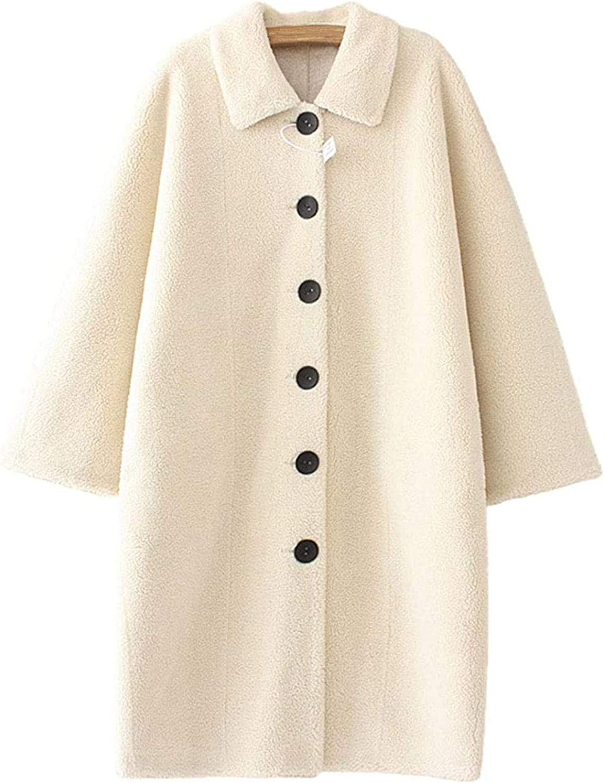 Women's Single Breasted Faux Shearling Shaggy Cozy Sherpa Long Coat