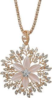 MOONSTONE Fashion Jewelry Pendant for Women, Lovely Semi-Precious Stone Flower Long Chain