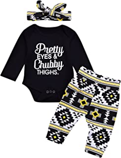 Tomfree Baby Boys Girls Pretty Eyes Chubby Thighs Funny Bodysuits Cotton Pants Headband Outfit