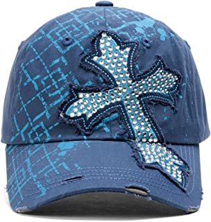 TopHeadwear Beaded Cross Distressed Adjustable Baseball Cap