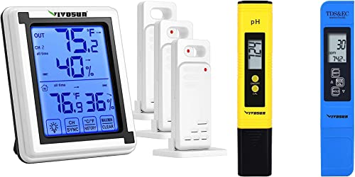 discount VIVOSUN wholesale Wireless Thermometer discount and Hygrometer with 3 Remote Sensors and pH and TDS Meter Combo outlet sale