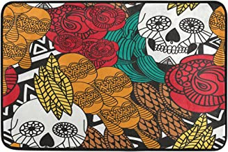 MASSIKOA Colorful Mexican Skull Non Slip Backing Entrance Doormat Floor Mat Rug Indoor Outdoor Front Door Bathroom Mats, 2...