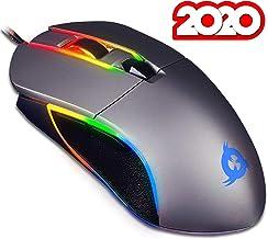 KLIM™ Aim - Ratón Gaming con Cable + Diseñado para Todos los Tamaños de Manos + Ratón Gamer RGB Personalizable, Programable, 500 a 7000 dpi + Agarre Ambidiestro + Compatible con PC y PS4 (Gris)