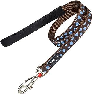 Red Dingo Hundkoppel, 15 mm x 1,2 m, storlek S, blå prickar på brunt